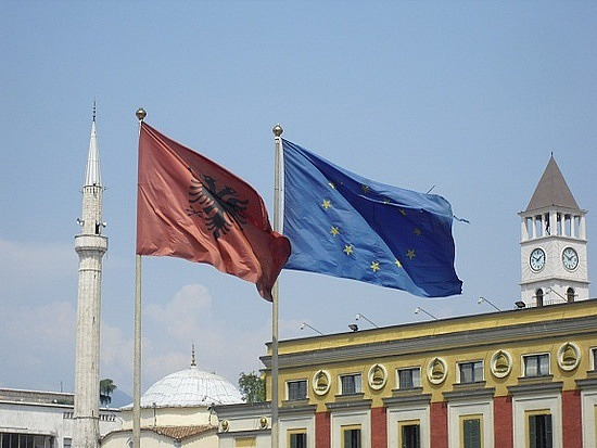 Albania and EU Flags, Tirana