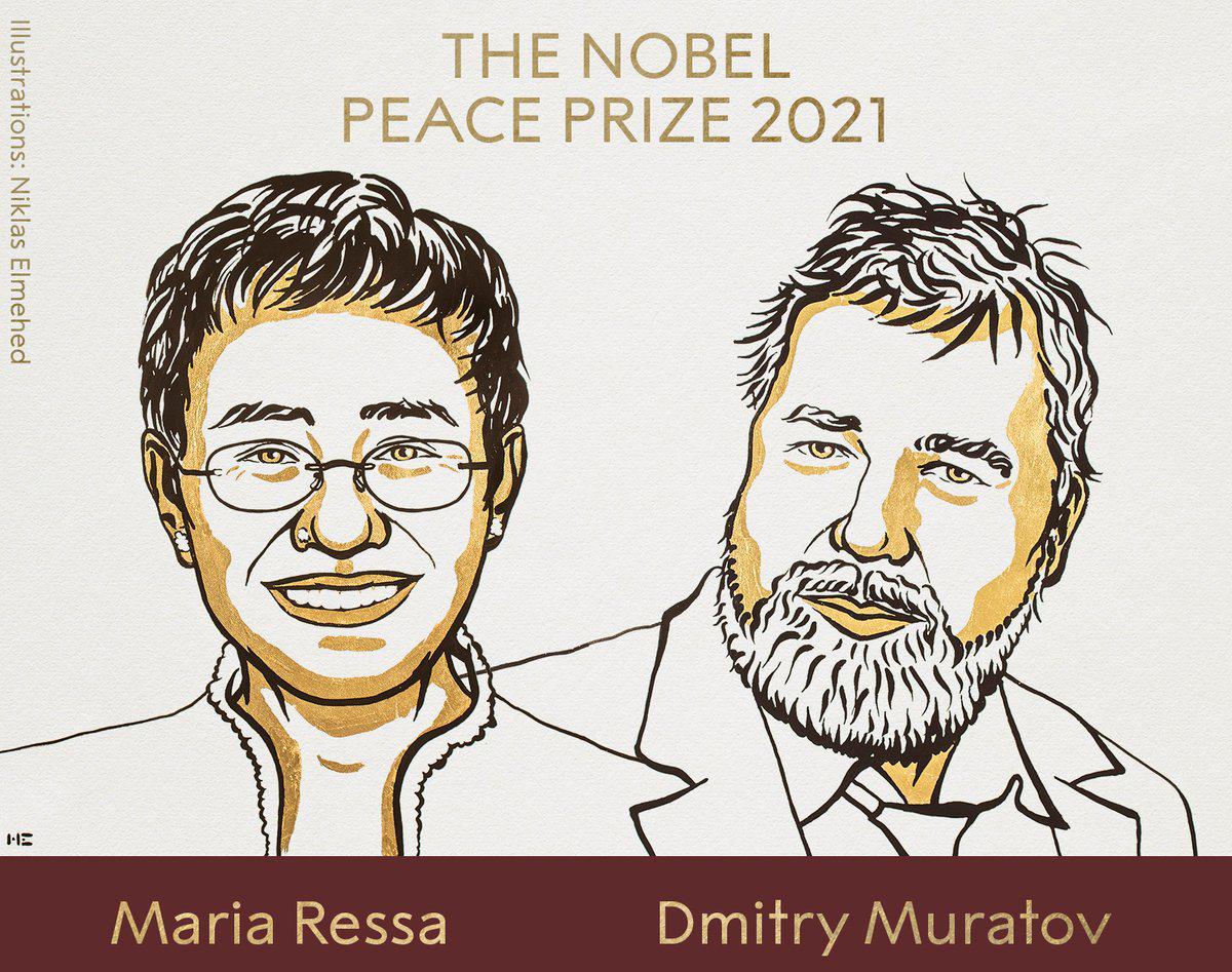 Dy gazetarë Maria Ressa dhe Dmitry Muratov fitojnë Çmimin Nobel për Paqen -